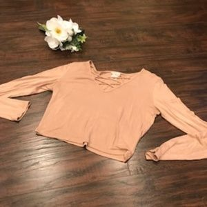 4/$25 Wet Seal | nude long sleeve crop top basic